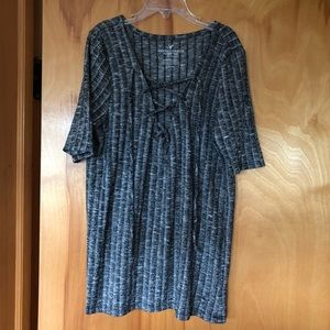 American Eagle Ribbed Lace Up Dark Grey Top